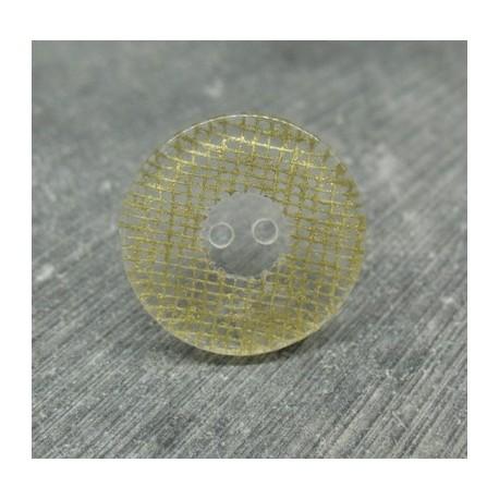 Bouton translucide grillage doré 23mm