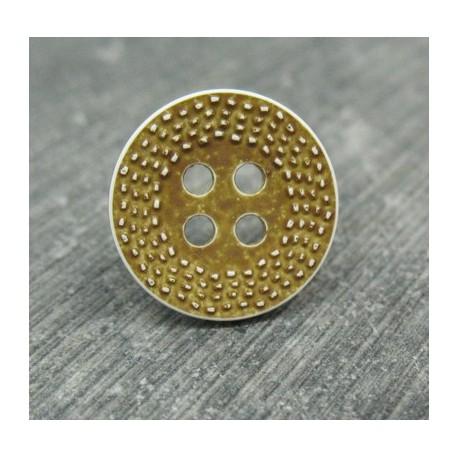 Bouton pointillé délavé kakimarron 15mm