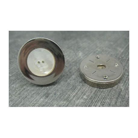 Bouton nacre australie cercle métal 28mm