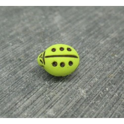 Bouton coccinelle vert anis 11mm