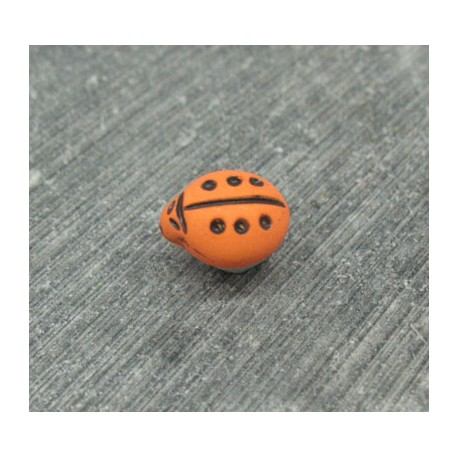Bouton coccinelle orange 11mm