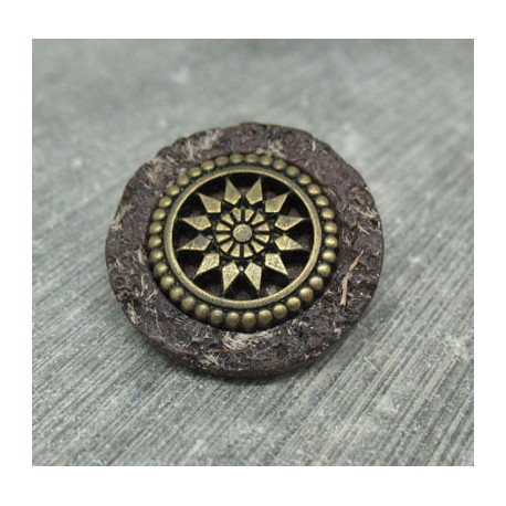 Bouton roue antique marron 27mm