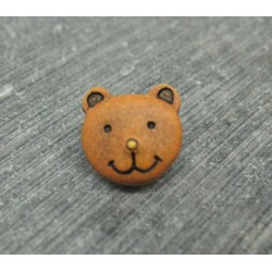 Bouton ours oranger 11mm