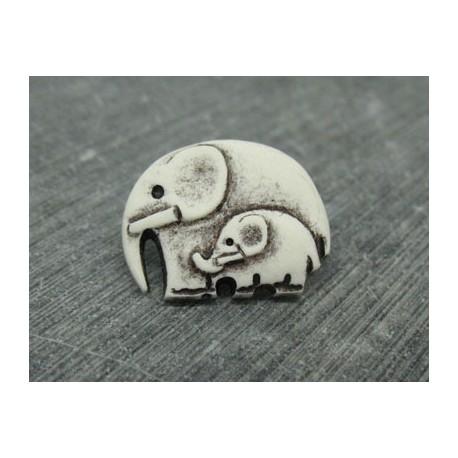 Bouton éléphant blanc noir 22mm