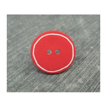 Bouton rouge cercle blanc 18mm