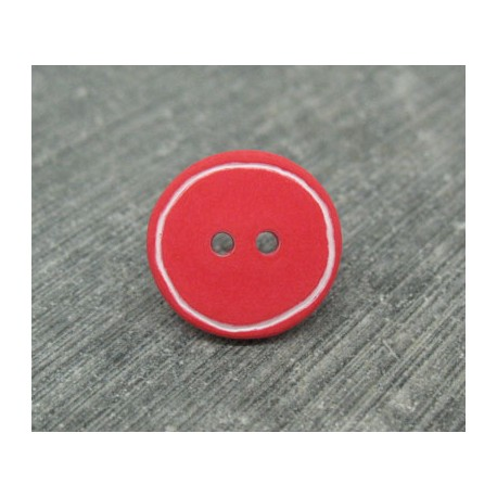 Bouton rouge cercle blanc 15mm