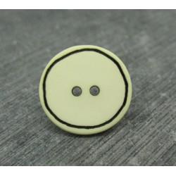 Bouton écru cercle noir 18mm