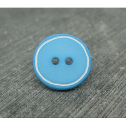 Bouton turquoise cercle blanc 15mm