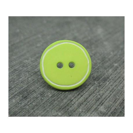Bouton vert anis cercle blanc 15mm