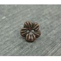 Bouton fleur métallisé cuivre 10mm