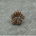 Bouton fleur métallisé cuivre 12mm