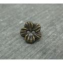 Bouton fleur métallisé vieil or 10mm