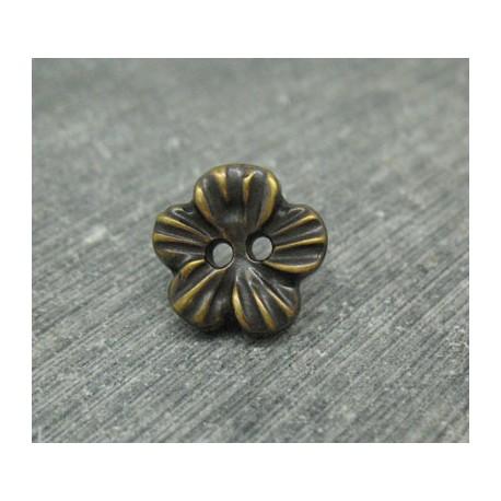 Bouton fleur métallisé vieil or 12mm