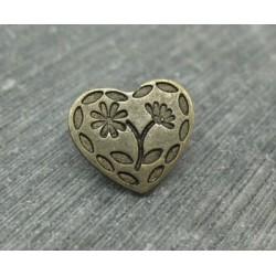 Bouton coeur gravé 2 fleurs vieil or 15mm