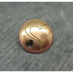 Bouton coeur gravé percé doré 18mm