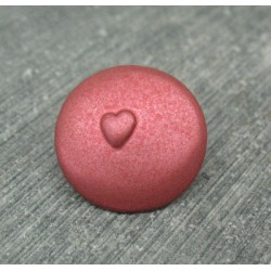 Bouton coeur relief corail 18mm