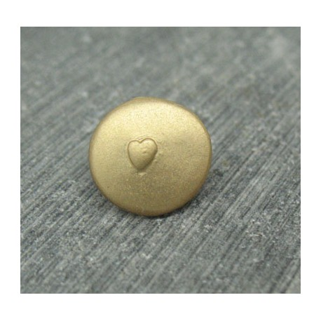 Bouton coeur relief or 12mm