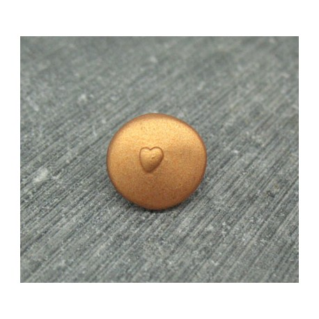 Bouton coeur relief cuivre 12mm