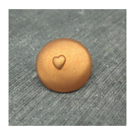 Bouton coeur relief cuivre 18mm