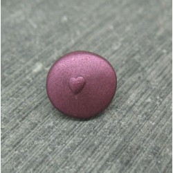 Bouton coeur relief violet 12mm