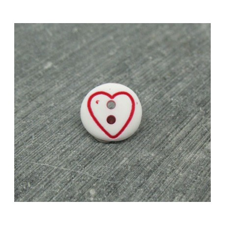Bouton coeur rouge base blanche 12mm