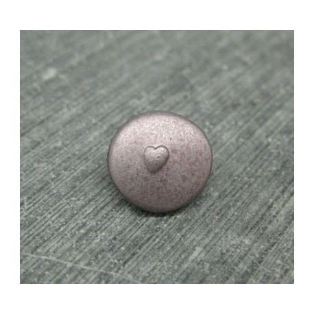 Bouton coeur relief vieux rose 12mm