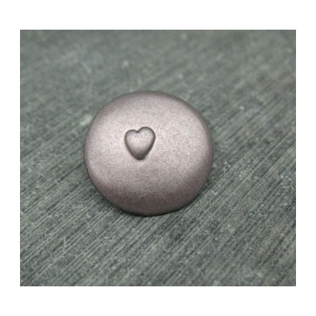 Bouton coeur relief vieux rose 18mm