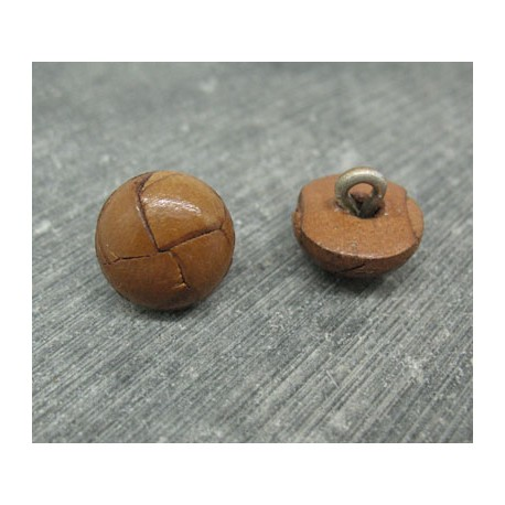 Bouton cuir marron clair 15mm