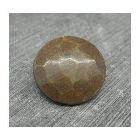 Bouton corne marron 23mm 1 pied biseauté
