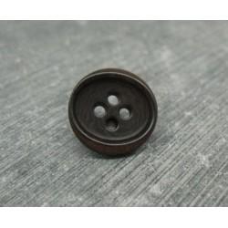 Bouton ivoire végétal marron ovalisé 15mm