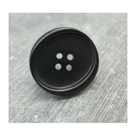 Bouton ivoire végétal noir ovalisé 25mm