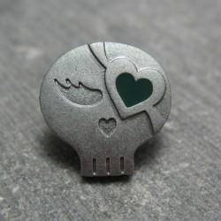 Bouton chipie gris coeur vert 15mm