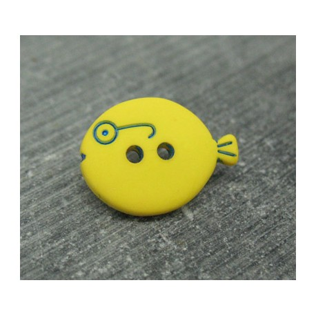 Bouton poisson jaune 18mm