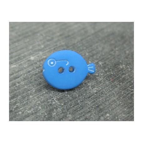 Bouton poisson bleu 15mm