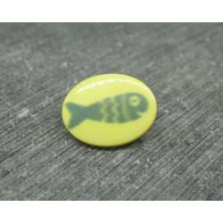 Bouton poisson oval jaune 15mm