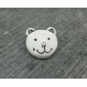 Bouton tête ours blanc 15mm