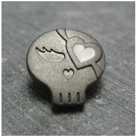Bouton chipie bronze coeur blanc 15 mm b70