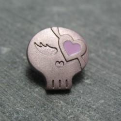 Bouton chipie mauve coeur rose 15 mm b70