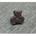 Bouton ours assis chocolat 12mm