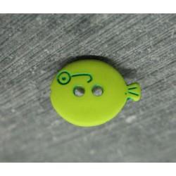 Bouton poisson vert anis 15mm