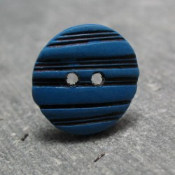 Bouton ovale strie bleu noir 15 mm b10