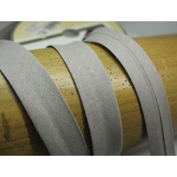 Biais N°60 gris polycoton préplié 9mm fini