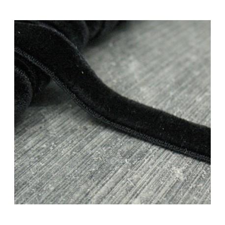 Ruban velours noir 10mm élastique