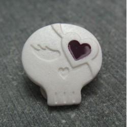 Bouton chipie blanc coeur violet 15mm