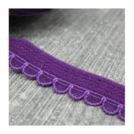 Elastique fantaisie violet aspect velours 10mm