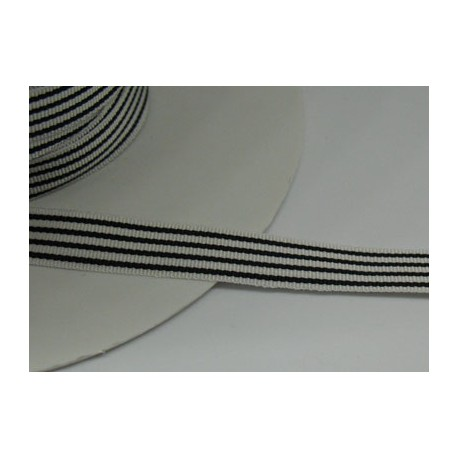 Ruban droit fil noir-blanc 10mm