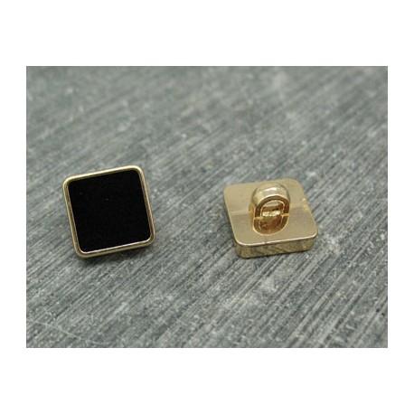 Bouton carré or émaillé noir 11mm