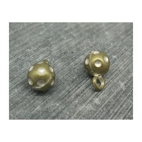 Bouton boule métal vieil or-point blanc 9mm