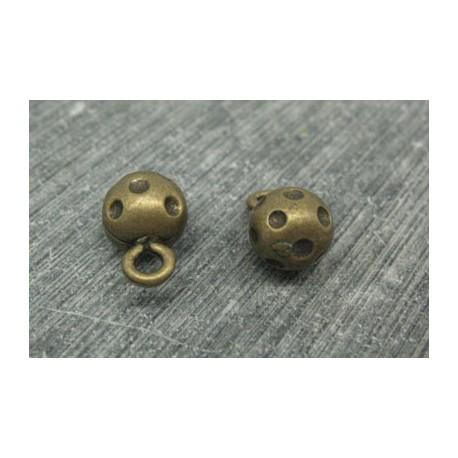 Bouton boule métal vieil or point noir 9mm