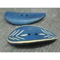 Bouton bambou gravé feuille bleu jean 50mm